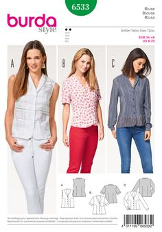Purchase Burda 6533 Misses' Blouse and read its pattern reviews. Find other Tops, sewing patterns.