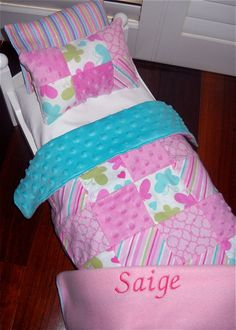 For Erin American Girl Doll Bedding Pink Quilted Chenille Personalized Blankets…