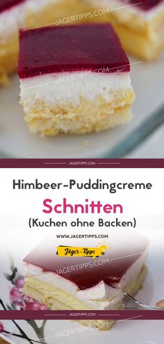 Himbeer-Puddingcreme Schnitten (Kuchen ohne Backen) Raspberry pudding cream slices (cake without baking) Cookies And Cream Cake, Butter Chocolate Chip Cookies, Chocolate Cookie Recipes, Sugar Cookie Recipe Easy, Peanut Butter Cookie Recipe, Easy Cookie Recipes, Chocolate Navidad, Blueberry Recipes, Cake Mix Recipes
