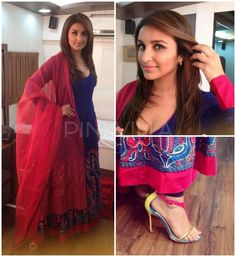 Parineeti Chopra in Diva'ni Couture. She paired her pink and blue anarkali with color block Louboutins and dainty Amrapali earrings.