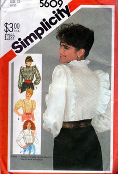 a9555c5841ae Simplicity Sewing Pattern 5609 ©1983 Misses  Set of Western Blouses  Sz 12