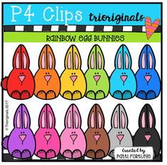 Happy Creating! RAINBOW BUNNY STYLE !This clip art set includes 13 images. There are 12 vibrant coloured images and 1 black and white image.If you like this set I'd love to have your feedback for my shop. I read every comment and greatly appreciate the time you take to give  a rating.