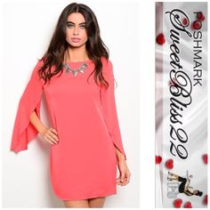 💋Split Sleeve Coral Dress💋 Add some style to your wardrobe with this dress! Cute, sassy and stylish! 💕Small measures 36 inches in the bust 💕Medium measures 40 inches in the bust💕Large measures 41 inches in the bust Dresses
