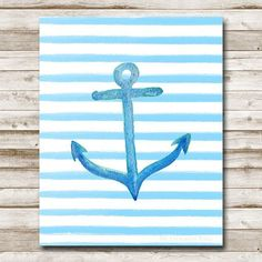 Anchor Printable 8x10 Instant Download Anchor Art Print Nautical Print Nautical Wall Art Nautical Nursery Anchor Watercolor Blue Stripe