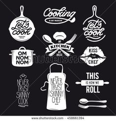 Cooking related typography set. Quotes about kitchen. Never trust a skinny chef. Valentines Day Doodles, Typography Design, Branding Design, Chef Quotes, Kitchen Artwork, Food Menu Design, Logo Food, Chef Recipes, Food Illustrations