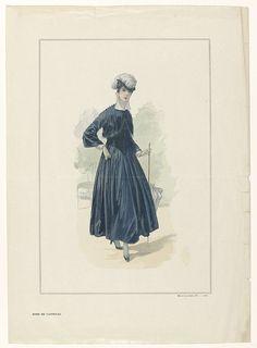 Anonymous | La Mode Illustrée, 1916, No. 7 : Robe de Taffetas, Anonymous, 1916 | Staande vrouw gekleed in een blauwe japon van tafzijde met een puntig lijfje en een wijde enkellange rok. Bolero (?) met afgeronde voorpanden, op de schouders en bij de zoom versierd met bolletjes. Opstaande kraag en ondermouwen met idem versiering. Accessoires: hoed versierd met veer, wandelstok die ook als parasol kan worden gebruikt, handschoenen, tweekleurige schoenen met hakken. Prent uit het…