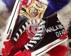 The Walking Dead Shoes, Custom Converse high tops, custom men's shoes, Handpainted Sneakers gift, Converse Custom