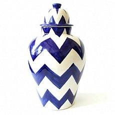 Blue ZigZag Tibor : Emilia Ceramics #BlueandWhite #ZigZag #HomeDecor