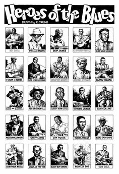 """Robert Crumb, a limited-edition serigraph based on the """"Heroes of the Blues"""" card set. davidcharlesfoxexpressionism.com #heroesoftheblues #robertcrumb #illustration"""