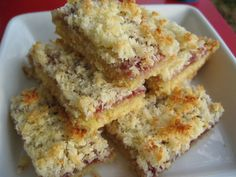 Coconut Slice; serve warm in squares with cream for dessert or cold in fingers for the lunchbox.