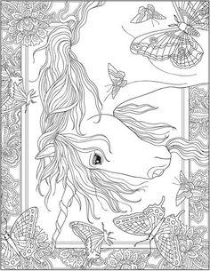 Coloriage cheval adulte licorne ailes antistress etoiles ...