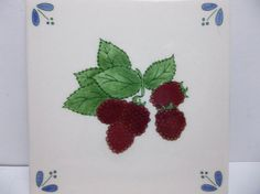"Vintage Hand Painted DEMUTH Art Tile RASPBERRIES 6"" NAPA California #Demuth"