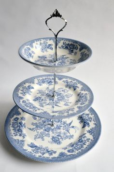 NEW!! Three Tiered Stand - Vintage Looking Blue Flowers