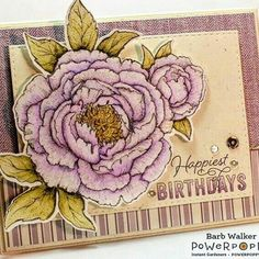 Tree Peony Parade  I love the glittery touches on Barb Walker's purple, petal-icious, piece of heaven! Featuring our #treepeony downloadable digi. #powerpoppy