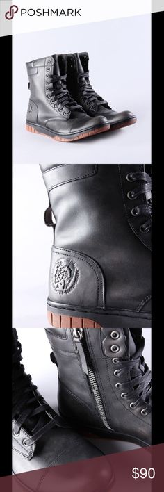DIESEL BASKET BUTCH ZIPPY COMBAT BOOT Right zipper isn't working but could easily be fixed! Part sneaker, part boot, this leather pair has 24/7 appeal. The embossed mohawk and logo motifs are a signature touch, sure to get you noticed.  100%Cowhide Leather Leather Panelled construction Embossed signature mohawk motif and logo Rubber sole Lace-up front Diesel Shoes Combat & Moto Boots