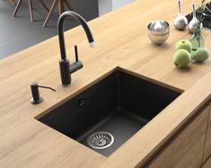 Composite granite kitchen sinks from Lavello Granite Kitchen Sinks, Composite Kitchen Sinks, Wood Countertops, Modern Bathroom Design, Home Decor Kitchen, Kitchen Accessories, Sweet Home, Bathroom Sinks, Counter Top