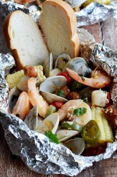 Cilantro-Garlic-Lime Seafood Packet with Chorizo