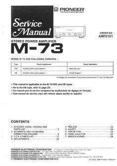Pioneer M90a & M91 Power Amplifier , Service Manual 100
