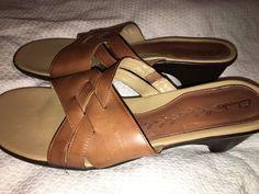 "Clarks Shoes Ladies Brown Sandals 2"" Heel 75589 Stylish Leather #Clarks #Slides"