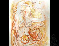 Sacral Chakra Goddess / Orange Goddess / Orange yellow Wall Art ~ Art Print from original artwork by Roberta Orpwood Art Chakra, Sacral Chakra, Chakra Painting, Tantra, Les Chakras, Yoga Chakras, Yellow Wall Art, Sacred Feminine, Divine Feminine