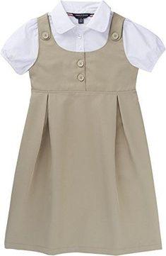 French Toast School Uniform Girls Peter Pan Collar 2-Fer Dress Khaki 14
