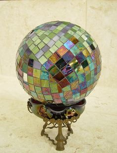 gazing ball made from oil-slick stained glass