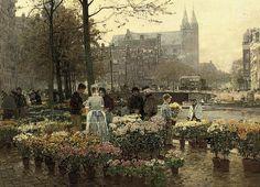 Hans Herrmann (1858-1942)  Selling Flowers on the Flower Market, Amsterdam  signed 'Hans Herrmann' (lower right)