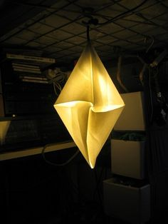 Origami Diamond Pendant Light: Shade will be folded on orderof Japanese paper. Ships flat. $28.