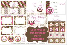 free owl birthday printables   ... , Owl everything you can imagine you'll need for a birthday party