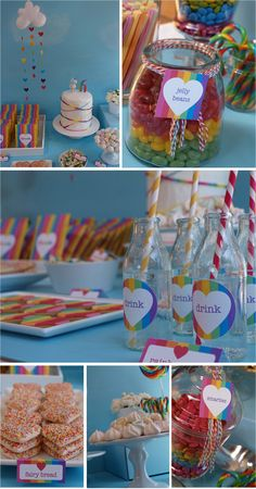 rainbow party ideas...love the backdrop and simple layout
