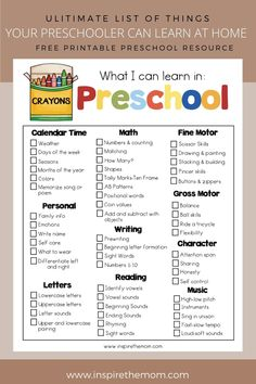 Things Your Preschooler Can Learn at Home - Preschool at home checklist Preschool Assessment, Homeschool Preschool Curriculum, Kindergarten Readiness, Preschool Lesson Plans, Preschool At Home, Preschool Kindergarten, Preschool Education, Preschool Themes By Month, Home Preschool Schedule