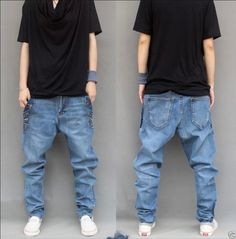 Mens Denim Casual Harem Trousers Tapered Baggy Pants Hip Hop Drop Crotch Jeans | eBay