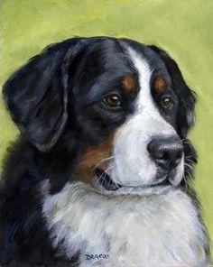 Bernese Mountain Dog Art 8x10 Print of Original by DottieDracos