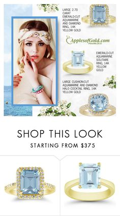 """""""Aquamarine Ring - ApplesofGold.com"""" by applesofgoldjewelry ❤ liked on Polyvore featuring Apples of Gold"""