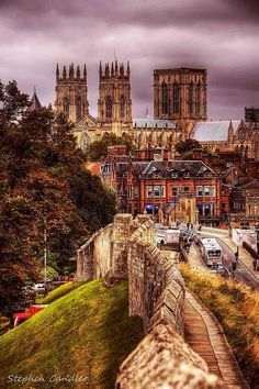 England Travel Inspiration - Traditional view of York Minster from the city walls, England