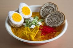 A Beautiful Crocheted Bowl of Ramen Noodles