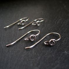 andmade oxidized sterling silver earwires with decorative swirl end, ends of the wire are rounded and smoothed making them comfortable to put on. Size: approx 24mm top to bottomGauge: 0.8mm/20g