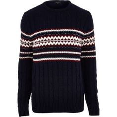 Navy fair isle cable knit Christmas jumper in River Island.