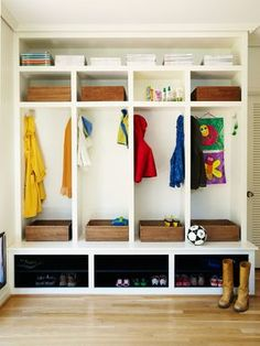 storage with cubbies mudroom entry contemporary with boots built in storage coat hooks holes storage cubbies lowes Entryway Shoe Storage, Coat Storage, Cubby Storage, Storage Design, Built In Storage, Storage Spaces, Kids Shoe Storage, Garage Entryway, Bench With Storage