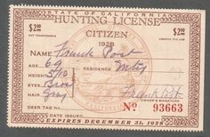 State of California Hunting License Citizen, 1928 CA State Seal Brown Hunting License, Age, Citizen, Seal, Stamps, California, Brown, Cards, Seals