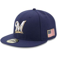Men's New Era Navy Milwaukee Brewers Authentic 9/11 59FIFTY Fitted Hat