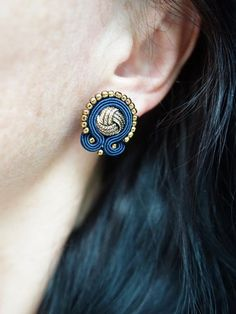 The navy blue and gold earrings soutache- GOOD PRICE! Denim Earrings, Black Earrings, Tassel Earrings, Statement Earrings, Fabric Jewelry, Boho Jewelry, Beaded Jewelry, Jewelry Accessories, Women Jewelry