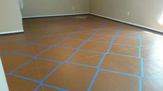 Measure out and put down grid lines with twine first. Then, using stencil tape border around stencil. Once borders are down remove twine. You are now ready to stencil.
