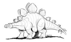 That time Matt was teaching himself how to draw a Stegosaurus. Animal Sketches, Animal Drawings, Drawing Sketches, Art Drawings, Dinosaur Drawing, Dinosaur Art, Dinosaur Sketch, Dinosaur Posters, Mythical Creatures Art