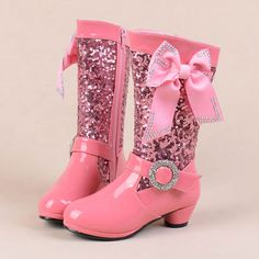 Rose Pink Patent Leather Sequin Low Heel Girls Pageant High Fashion Boots SKU-133311