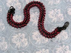 Black and Red Chainmaille Bracelet by AngelPetals on Etsy