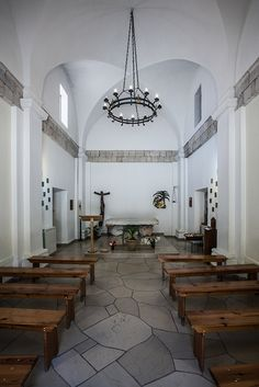 """The prayer hall inside the Carmelite monastery of the """"Muhraqa"""", on Mt Carmel, where prophet Elijah challenged the prophets of baal"""