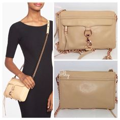"""REBECCA MINKOFF MINI MAC – BISCUIT/ROSE GOLD Authentic Rebecca Minkoff Mini MAC in smotth biscuit leather w/rose gold hardware. 9""""W x 6.5""""H x 1.5""""D. Optional chain strap w/leather inset; drop 23"""". Zip top closure. Exterior zip pocket under flap w/ tassel detail. Interior slip pocket w/ leather nameplate. Black & white print lining. Includes extra set of tassels. Dustbag not included. VERY GOOD condition; lobster clip shows surface mark. Corner at base on right shows color transfer; see pix…"""