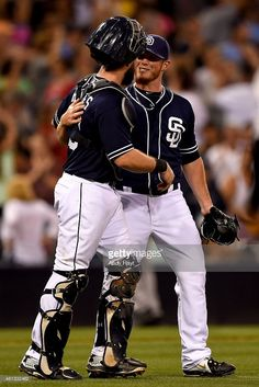 Austin Hedges #18 congratulates Craig Kimbrel #46 of the San Diego Padres after the final out during the game against the Colorado Rockies at Petco Park on July 18, 2015 in San Diego, California.