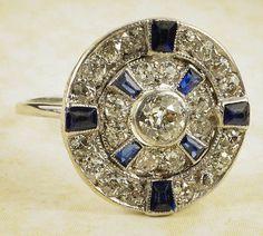 ANTIQUE ENGLISH ART DECO PLATINUM NATURAL SAPPHIRE DIAMOND CLUSTER RING 1CT 1920